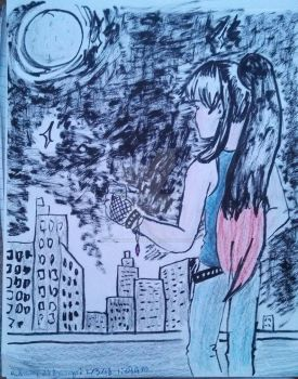 On the Roof (redraw) by MonokromeDemon