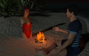 Tropical moonlight - conversation by the fire by tomalee