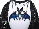 Colour-changing Bat Clay Pendant by Styxeria