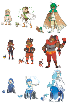 Pokemon: Sun+Moon Starters UPDATED...SPOILER ALERT by ky-nim