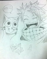 Natsu and Happy (Fairy Tail) by HeisoruWill
