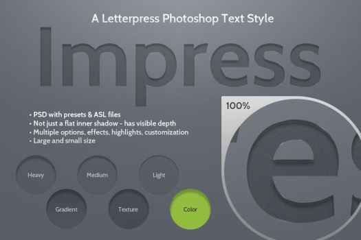 Impress Letterpress Photoshop Text Style by kevinhamil
