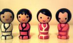 Japanese Kokeshi Mini Magnet Dolls by Froggy-Spaztastic