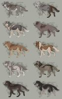 Semi-Realistic Wolf Adoptables Set 12 - CLOSED by Therbis
