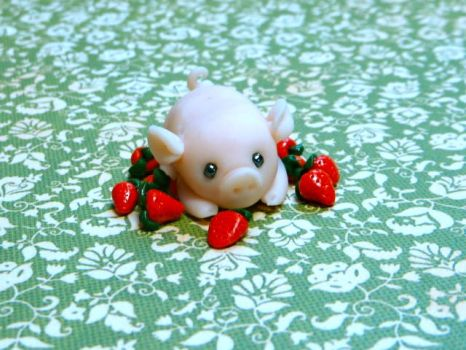 Piglet Baby with Strawberries by PaperChibi