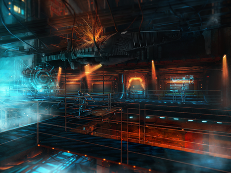 Sci - fi hangar by stgspi