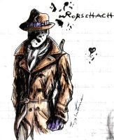 Rorschach behind my school papers x3 by Tipsutora