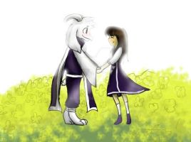 Asriel x Frisk future King and Queen by Ros3tte