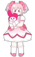 my melody and madoka by cherubunny