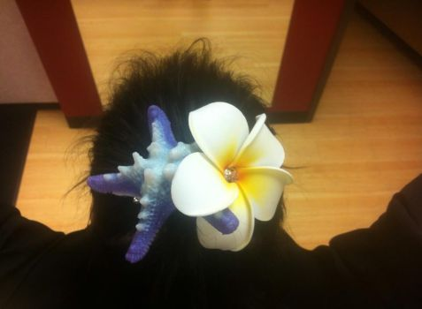 Silicone purple starfish hair clip. by Coyote-Walker