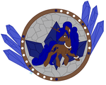 Sapphire Gem stained glass with character by Beadedwolf22