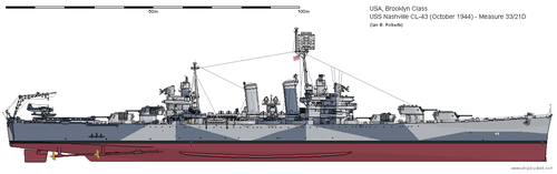 USS Nashville CL-43 (October 1944) - Ms33/21D by ColosseumSB
