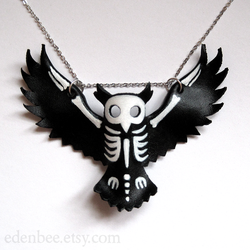 Owl Silhouette and Skeleton Leather Pendant by shmeeden