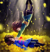 Frisk And Chara - undertale by zaameen