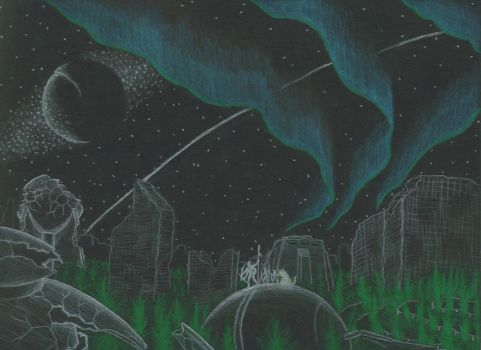 Ruined Cityscape at Night by Malcadon