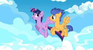 Twilight Sparkle and Flash Sentry flying together by EunJinShin