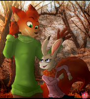 Nick And Judy ready for Autumn by TheDarkShadow1990