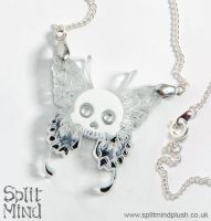 Skull Butterfly Necklace by splitmindplush