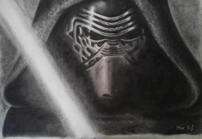 kylo Ren Charcoal by MariadelmART