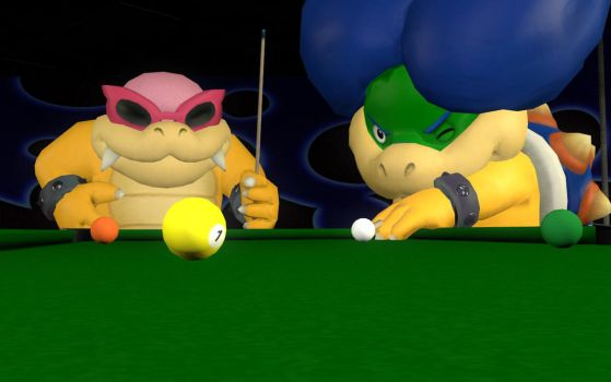 Ludwig and Roy playing billiards by russellmk2