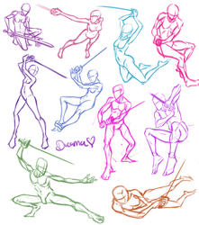 Sword Poses by DreamaDove93