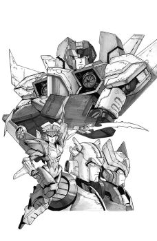 IDW Transformers Till All Are One #9 line art by geeshin
