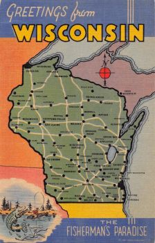 Mid-Century Map Postcard - Wisconsin by Yesterdays-Paper