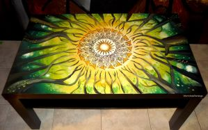 Summer Forest (painted coffee table) :) by WormholePaintings