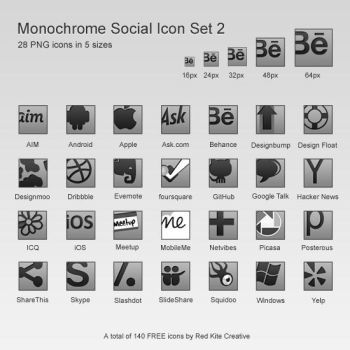 Offset Monochrome Social Icons Set 2 by coloradodev
