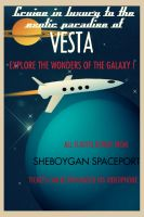 Vintage Space Travel Poster by nealienman