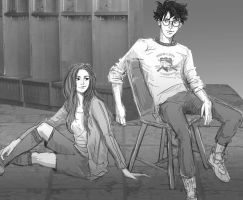 Harry and Ginny hangin after quidditch practice by HILLYMINNE