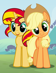 More of Applejack and Sunset Shimmer by TheMexicanPunisher