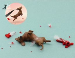 Miniature 1:12 Dachshund Sculpture by Pajutee