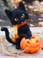 Needle felted black Cat on Halloween by YuliaLeonovich