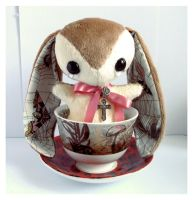 Lonnie - Handmade Teacup Bunny - sold by tiny-tea-party