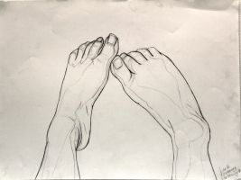 Foot study - Life drawing by 7AirGoddess3