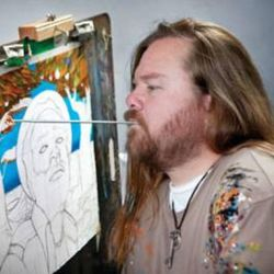 Me painting portrait of Winston Rodney by Paintmouth
