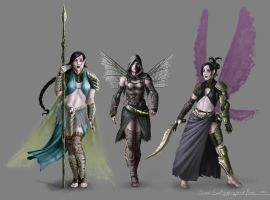 3 Warrior fairies by TheRogueSPiDER