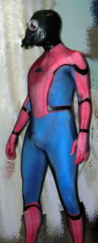 MCU Spiderman with gasmask+rubber hood by rubbermask