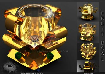 Fruit Bowl :Gold color: inspired by flower by Huzznie