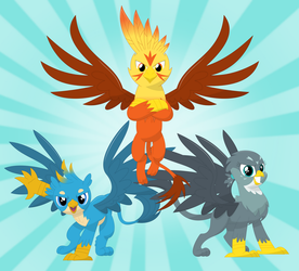 We're a badass griffon trio by Porygon2z