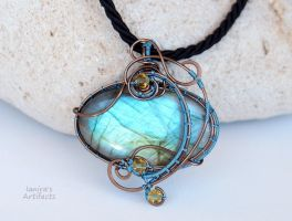 Light Blue Labradorite wire wrapped pendant by IanirasArtifacts