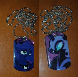 Princess Luna and Nightmare Moon dog tags by cedricc666