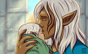 Zevran and Baby Rinna by LizDoodlez
