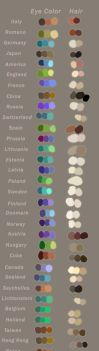 APH: Character Hair Colour and Eye Colour Swatches by The-Ghost-Writer