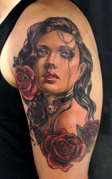 woman portrait with roses by bhbettie