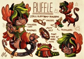 Ruffle Ref. Sheet [Commission w/ Outfit Design] by Baraayas