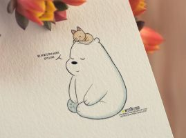 Ice bear and kitty by Mysteria-Cyber