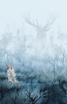 Mononoke and the deer god by AnatoFinnstark