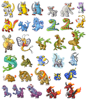 A bunch of my fakemon sprites by TempusDominus
